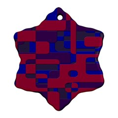 Offset Puzzle Rounded Graphic Squares In A Red And Blue Colour Set Ornament (snowflake) by Mariart