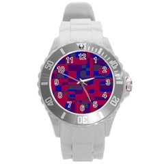 Offset Puzzle Rounded Graphic Squares In A Red And Blue Colour Set Round Plastic Sport Watch (l) by Mariart