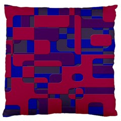 Offset Puzzle Rounded Graphic Squares In A Red And Blue Colour Set Large Cushion Case (one Side) by Mariart