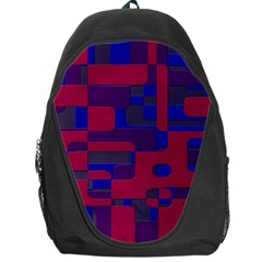 Offset Puzzle Rounded Graphic Squares In A Red And Blue Colour Set Backpack Bag by Mariart