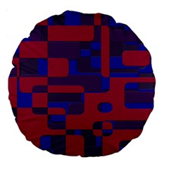 Offset Puzzle Rounded Graphic Squares In A Red And Blue Colour Set Large 18  Premium Round Cushions by Mariart