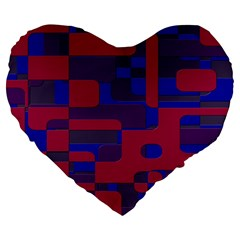 Offset Puzzle Rounded Graphic Squares In A Red And Blue Colour Set Large 19  Premium Heart Shape Cushions by Mariart