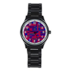 Offset Puzzle Rounded Graphic Squares In A Red And Blue Colour Set Stainless Steel Round Watch by Mariart