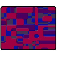 Offset Puzzle Rounded Graphic Squares In A Red And Blue Colour Set Double Sided Fleece Blanket (medium)  by Mariart