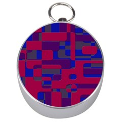 Offset Puzzle Rounded Graphic Squares In A Red And Blue Colour Set Silver Compasses by Mariart