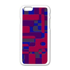 Offset Puzzle Rounded Graphic Squares In A Red And Blue Colour Set Apple Iphone 6/6s White Enamel Case by Mariart