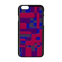 Offset Puzzle Rounded Graphic Squares In A Red And Blue Colour Set Apple Iphone 6/6s Black Enamel Case by Mariart