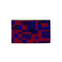 Offset Puzzle Rounded Graphic Squares In A Red And Blue Colour Set Cosmetic Bag (xs) by Mariart