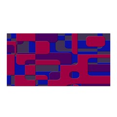 Offset Puzzle Rounded Graphic Squares In A Red And Blue Colour Set Satin Wrap by Mariart