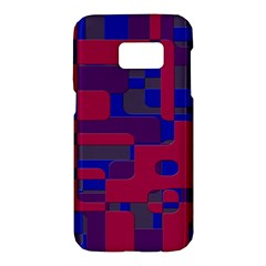 Offset Puzzle Rounded Graphic Squares In A Red And Blue Colour Set Samsung Galaxy S7 Hardshell Case  by Mariart