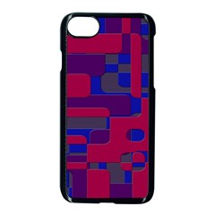 Offset Puzzle Rounded Graphic Squares In A Red And Blue Colour Set Apple Iphone 7 Seamless Case (black) by Mariart