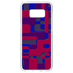 Offset Puzzle Rounded Graphic Squares In A Red And Blue Colour Set Samsung Galaxy S8 White Seamless Case by Mariart