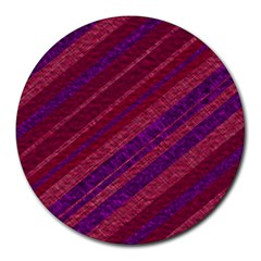 Maroon Striped Texture Round Mousepads by Mariart