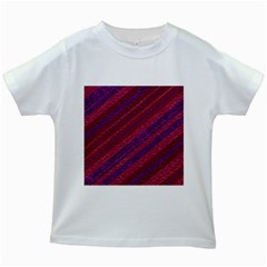 Maroon Striped Texture Kids White T Shirts by Mariart