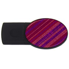 Maroon Striped Texture Usb Flash Drive Oval (2 Gb) by Mariart