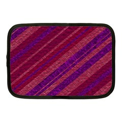 Maroon Striped Texture Netbook Case (medium)  by Mariart
