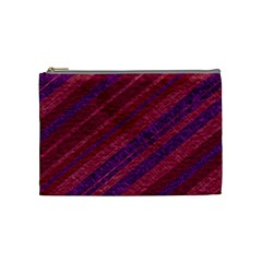 Maroon Striped Texture Cosmetic Bag (medium)  by Mariart