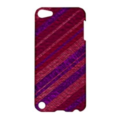 Maroon Striped Texture Apple Ipod Touch 5 Hardshell Case by Mariart