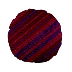 Maroon Striped Texture Standard 15  Premium Round Cushions by Mariart