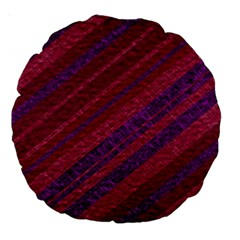 Maroon Striped Texture Large 18  Premium Round Cushions by Mariart