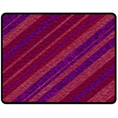 Maroon Striped Texture Double Sided Fleece Blanket (medium)  by Mariart