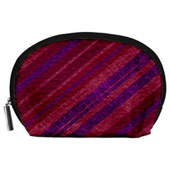 Maroon Striped Texture Accessory Pouches (large)  by Mariart