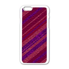 Maroon Striped Texture Apple Iphone 6/6s White Enamel Case by Mariart