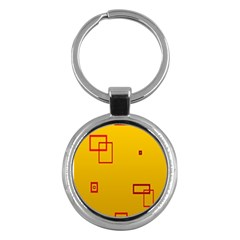 Overlap Squares Orange Plaid Red Key Chains (round)  by Mariart