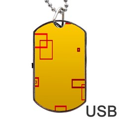 Overlap Squares Orange Plaid Red Dog Tag Usb Flash (two Sides) by Mariart