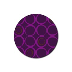 Original Circle Purple Brown Rubber Coaster (round)  by Mariart