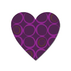 Original Circle Purple Brown Heart Magnet by Mariart