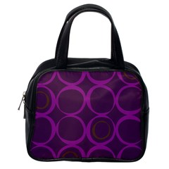 Original Circle Purple Brown Classic Handbags (one Side) by Mariart