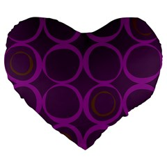 Original Circle Purple Brown Large 19  Premium Flano Heart Shape Cushions by Mariart