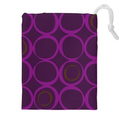 Original Circle Purple Brown Drawstring Pouches (xxl) by Mariart