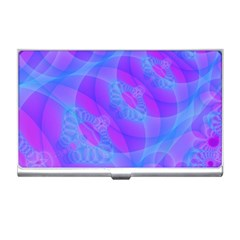Original Purple Blue Fractal Composed Overlapping Loops Misty Translucent Business Card Holders by Mariart