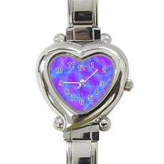 Original Purple Blue Fractal Composed Overlapping Loops Misty Translucent Heart Italian Charm Watch by Mariart