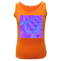 Original Purple Blue Fractal Composed Overlapping Loops Misty Translucent Women s Dark Tank Top