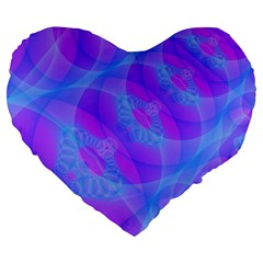 Original Purple Blue Fractal Composed Overlapping Loops Misty Translucent Large 19  Premium Heart Shape Cushions by Mariart
