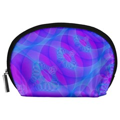 Original Purple Blue Fractal Composed Overlapping Loops Misty Translucent Accessory Pouches (large)  by Mariart