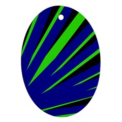 Rays Light Chevron Blue Green Black Ornament (oval) by Mariart