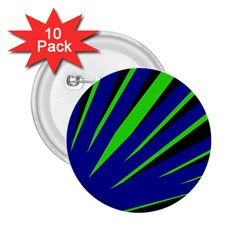 Rays Light Chevron Blue Green Black 2 25  Buttons (10 Pack)
