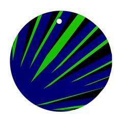 Rays Light Chevron Blue Green Black Round Ornament (two Sides)