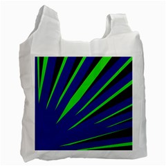 Rays Light Chevron Blue Green Black Recycle Bag (one Side) by Mariart