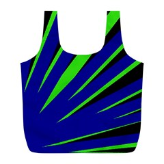 Rays Light Chevron Blue Green Black Full Print Recycle Bags (l)