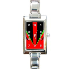 Rays Light Chevron Green Red Black Rectangle Italian Charm Watch by Mariart