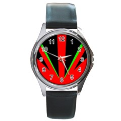 Rays Light Chevron Green Red Black Round Metal Watch by Mariart