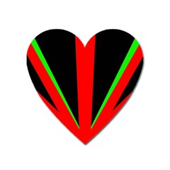 Rays Light Chevron Green Red Black Heart Magnet by Mariart