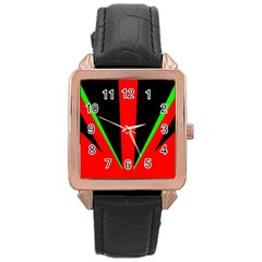 Rays Light Chevron Green Red Black Rose Gold Leather Watch  by Mariart
