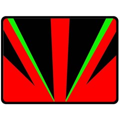 Rays Light Chevron Green Red Black Double Sided Fleece Blanket (large)  by Mariart