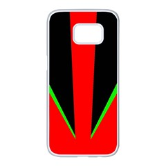Rays Light Chevron Green Red Black Samsung Galaxy S7 Edge White Seamless Case by Mariart